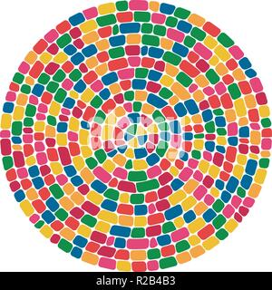 vector abstract colorful mosaic round pattern. pebble stone mosaic circle background - Stock Photo