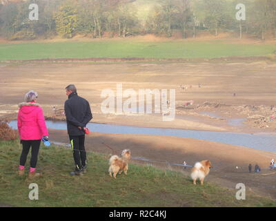 Dog walkers inspect the water levels in Ladybower Reservoir which have dropped low enough to reveal the remains of the abandoned Derwent village - Stock Photo
