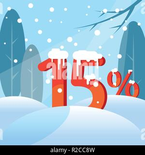 A discount fifteen percent. Figures in the snow - Stock Photo