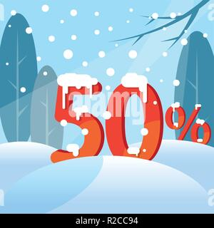 A discount fifty percent. Figures in the snow - Stock Photo