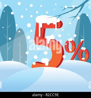 A discount five  percent. Figures in the snow - Stock Photo