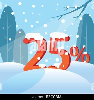 A discount twenty five percent. Figures in the snow - Stock Photo