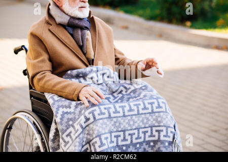 cropped shot of senior disabled man in wheelchair with plaid on legs on street - Stock Photo