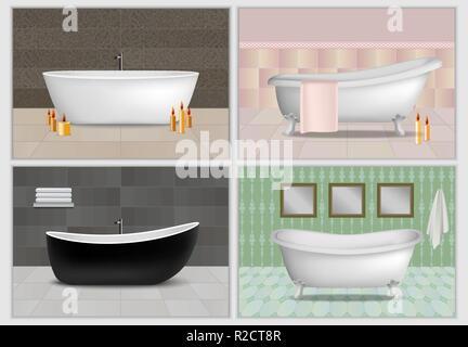 Bathtub shower interior mockup set. Realistic illustration of 4 bathtub shower interior mockups for web - Stock Photo