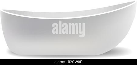 White bathtub mockup. Realistic illustration of white bathtub vector mockup for web design isolated on white background - Stock Photo