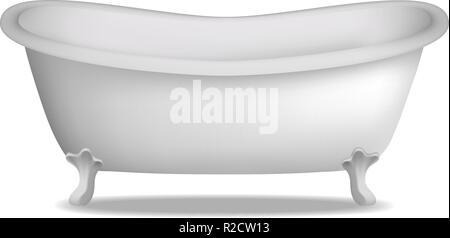 Bathtub mockup. Realistic illustration of bathtub vector mockup for web design isolated on white background - Stock Photo