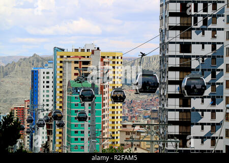 The World's Highest Cable Car Network 'Mi Teleferico' with Colorful Modern Buildings and Moon Valley in Background, La Paz, Bolivia, 27th April 2018 - Stock Photo