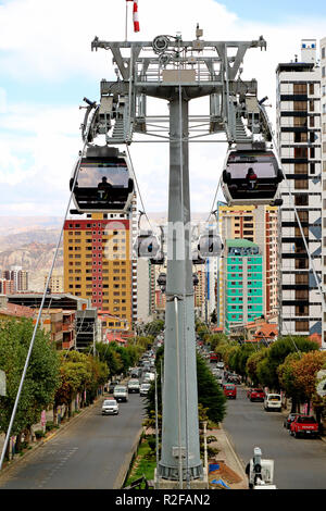 La Paz's Famous Cable Car System Mi Teleferico, the White Line is Traveling along Road Median Strip of La Paz, Bolivia, 27th April 2018 - Stock Photo