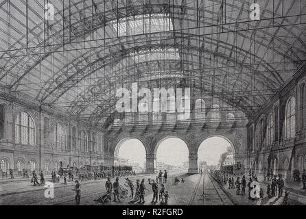 Digital improved reproduction, the new railway station Anhalt at Berlin, Germany, from an original print from the 19th century - Stock Photo
