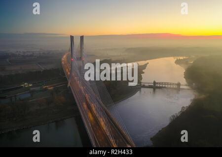 Spectacular view from drone on Redzinski Bridge in Wrocław, Poland. - Stock Photo