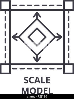 Scale model line icon concept. Scale model vector linear illustration, symbol, sign - Stock Photo