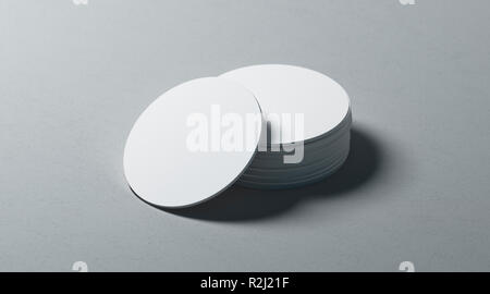 Blank white round beer coasters stack mockup on textured surface, 3d rendering. Empty label table-mat mock up. Clear bunch of cardboard protect for beer or hot drink. - Stock Photo