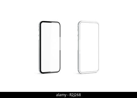 Blank black and silver phone frame with white screen mockup set, isolated, 3d rendering. Empty smartphone display mock up, side view. Slim gadget model template. Mobile monitor concept. - Stock Photo
