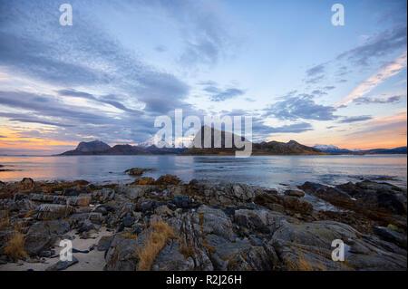Coastal landscape view from Sandnes, Flakstad, Lofoten, Nordland, Norway - Stock Photo