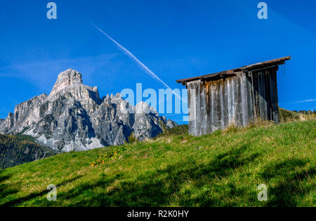 View of the Sassongher, 2665 m, near Corvara, Dolomites, Italy, Europe - Stock Photo
