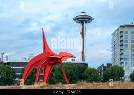 Seattle, Olympic Sculpture Park, The Eagle - Stock Photo