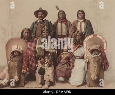 Ute Chief Sevara and Family. Dated: 1899. Dimensions: image: 6 15/16 x 9 in. (17.6 x 22.9 cm). Medium: photochrom. Museum: National Gallery of Art, Washington DC. Author: American 19th Century (Detroit Photographic Co. ). - Stock Photo