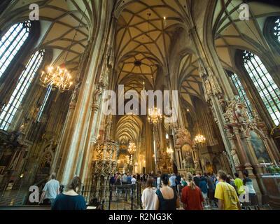 Vienna, Austria - August 13, 2018: St. Stephen's Cathedral in Vienna, Austria. Internal facade. - Stock Photo