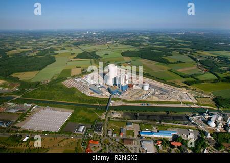 EON Datteln4 coal power station, construction freeze, boiler house, cooling tower, Dortmund-Ems-Kanal, Datteln, Ruhr area, North Rhine-Westphalia, Germany, Europe, - Stock Photo