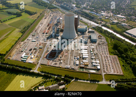 EON Datteln4 coal power station, construction freeze, boiler house, cooling tower, Dortmund-Ems Canal, Recklinghausen, Ruhr Area, North Rhine-Westphalia, Germany, Europe, - Stock Photo