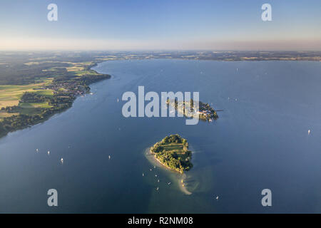 View of the Fraueninsel and Krautinsel in Chiemsee, Chiemgau, Upper Bavaria, Bavaria, southern Germany, Germany, Europe - Stock Photo