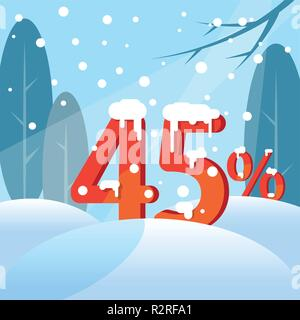 A discount Forty five percent. Figures in the snow - Stock Photo
