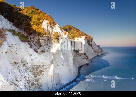Drone view of the small Danish Island Møn located in the Baltic Sea with its famous chalk cliffs - Stock Photo