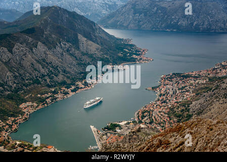 The view  of Kotor and Boka bay from above, Montenegro - Stock Photo