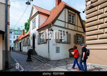 Traditional house. Old town street. Riga, Latvia, Baltic states, Europe - Stock Photo