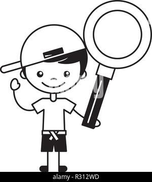 little boy holding magnifying glass - Stock Photo