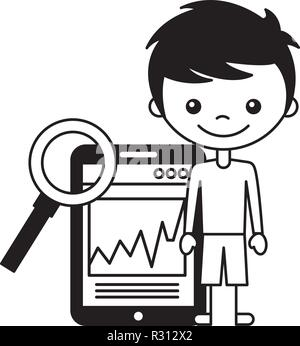 boy and magnifying glass mobile - Stock Photo