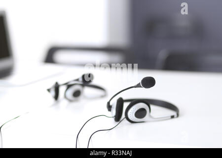 Communication support, call center and customer service help desk at empty office with no operators - Stock Photo