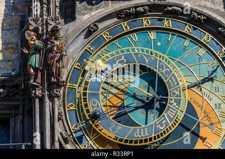 'Prazsky orloj', the astronomical clock of Prague's town hall, was built in 1410 by royal clockmaker Mikulas of Kadan - Stock Photo