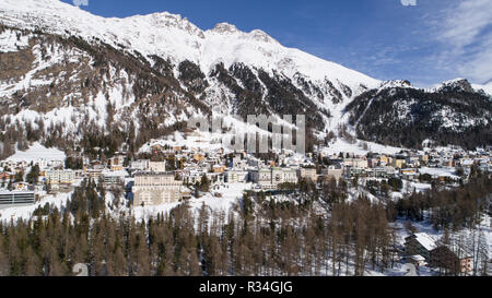 Village of Pontresina - Valley of Engadine in winter season - Stock Photo