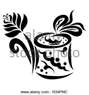 Flower and gift in a round box with a bow - Stock Photo