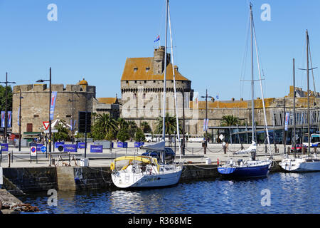 Saint-Malo (Brittany, France). Duguay Trouin Basin  and Grand Donjon (history museum). Brittany, Ille et Vilaine, France, Europe. - Stock Photo
