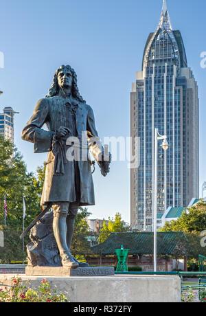 Pierre d'Iberville Statue in Cooper Riverside Park Mobile, Alabama - Stock Photo