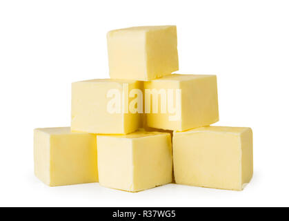 Bunch of butter cubes on a white, isolated. - Stock Photo