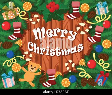 Christmas background of Christmas tree branches, toys, gifts, cones, candy, oranges and Christmas socks. - Stock Photo