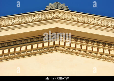 Architectural detail of a building on a blue sky - Stock Photo