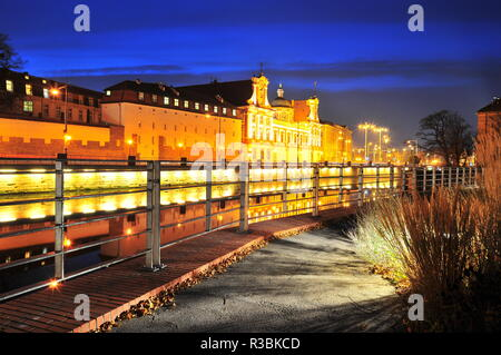 Wroclaw, Poland, October 2018.Ossolineum Library. With reflection in Odra River at night. - Stock Photo