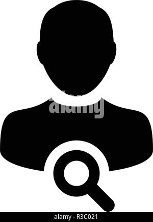 Magnifying glass icon vector male user person search profile avatar symbol in flat color glyph pictogram illustration - Stock Photo