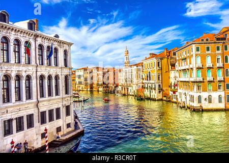 Colorful Grand Canal from Rialto Bridge, Venice, Italy - Stock Photo
