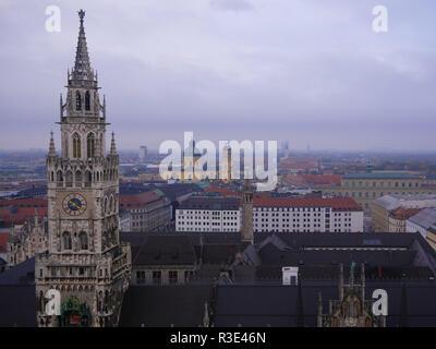 Town hall on Marienplatz in Munich, Germany - Stock Photo