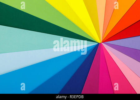 Rainbow color palette. Sheets of colored paper - Stock Photo