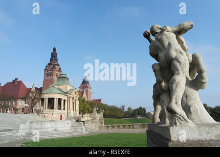 szczecin,sculpture on the hook terrace - Stock Photo