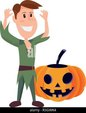 child with pumpkin in halloween costume vector illustration - Stock Photo