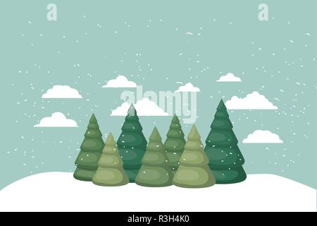 christmas trees in the snow isolated icon - Stock Photo