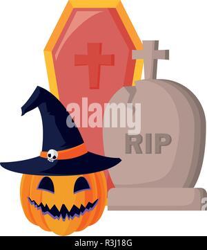 pumpkin grave and coffin halloween celebration vector illustration - Stock Photo