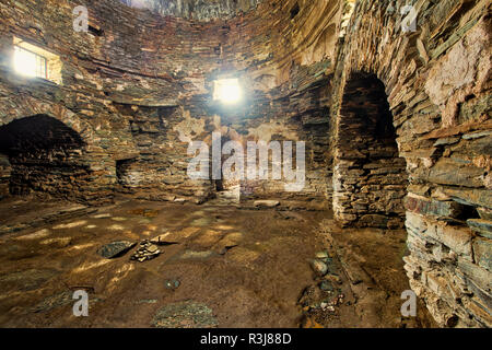 Tash Rabat, 15th century caravanserai, Interior, Naryn Province, Kyrgyzstan - Stock Photo